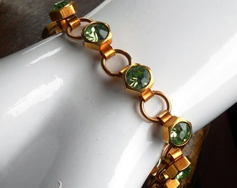Industrial Bling Series ~ Brass Link Bracelet w/ Peridot Green Rhinestones in Brass Hex Nut Settings on Handmade Links ~ #B0128 ~ by RTD