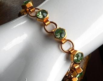 Industrial Bling Series ~ Brass Link Bracelet w/ Peridot Green Rhinestones in Brass Hex Nut Settings on Handmade Links ~ #B0128 ~ by RTD
