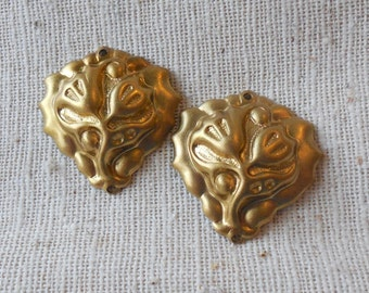 Raw Brass Tulip Stamping (4) (TWO HOLES) Steampunk, Victorian, Art Nouveau, Patina