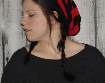 Red and Black Striped Hat, Winter Hat, Slouchy Knit Hat
