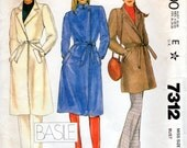 1980s Wrap Coat Pattern - Vintage McCall's 7312 - Bust 34