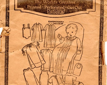 1920s Infant Layette Pattern - Vintage Pictorial Review 3472 - Size 1