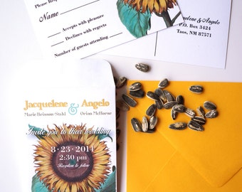 Sunflower Seed Packet Wedding Invitation with RSVP Postcard