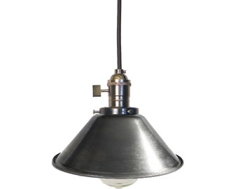 Steel Cone Shade Pendant Lighting Mix and Match Any Hardware Copper Chrome Black or Antique Brass Sockets Ceiling Light Fixture Industrial