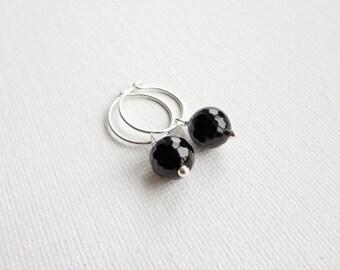 Onyx stone earrings small silver earrings silver hoop earrings black onyx stone pendant earrings for women