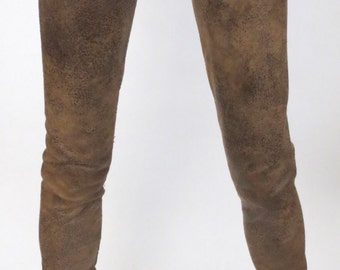 Distressed Brown Pleather Pants for MSD SD Ball Jointed Doll