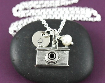 Personalized Camera Necklace - Photographer Gift - Secret Sister - Custom Initials - Handstamped Jewelry - Secret Sister Gift