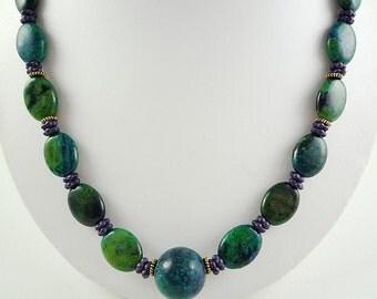 Gemstone Necklace Blue Yellow Turquoise Necklace Blue Green Gemstone Necklace Beaded Blue Yellow Turquoise Strand Gemstone Beaded Necklace