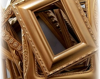 Gold Painted Picture Frames. Victorian Wedding Table Number Frames. Rustic Romance Collection of 12