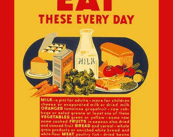 """New Ceramic Tile Reproduction Vintage WPA Healthy Foods Poster  """"Eat These Everyday"""" 8x10"""