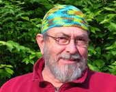Mens Cotton Cooling Cap Crocheted in Lagoon
