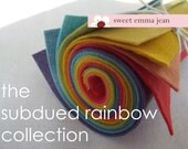 9x12 Wool Felt Sheets - The Subdued Rainbow Collection- 8 Sheets of Felt