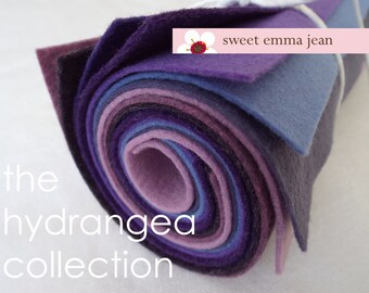Felt Sheets - The Hydrangea Collection - Eight 9x12 Sheets of Purple Felt