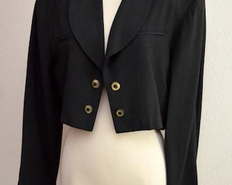 Vintage 80s Jacket // 1980s Cropped Black Bolero Jacket