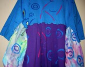 Cotton Purple and Blue up cycled reconstructed Funky Tee Tunic fits Xl-3X