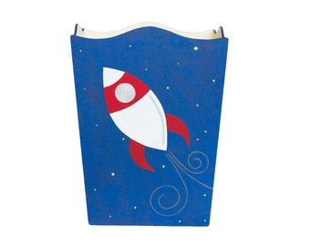 Wooden Waste Basket - Custom Hand Painted Children's Wood Garbage or Trash Can - Space Rocket or Any Kid's Theme