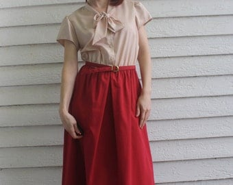 Vintage 70s Secretary Dress Red Bow Striped Print Librarian Leslie Fay 1970s S M