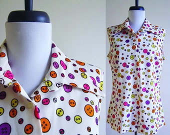 Vintage 1960s 1970s Blouse / NEON BUTTON Print Blouse / Size Medium or Large