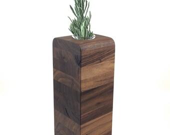 Medium Walnut Wood Vase  in the Slice Style