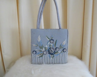 Vintage Silver Glass Beaded Floral Box Bag Evening Purse Handbag