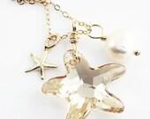 Starfish Necklace, Gold Starfish Necklace, Beach Jewelry, Beach Necklace, Starfish Jewelry, Beach Wedding
