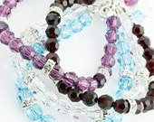 Swarovski Crystal Bracelet, You Choose Your Color,  with Sterling Silver Accents