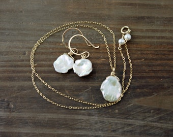 White Keishi Pearl Necklace and Earrings Set on 14k Gold Filled, Fresh Water Pearl Necklace, Fresh Water Pearl Earrings, Bridal Set