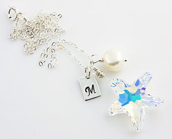 Monogrammed Swarovski Crystal Starfish, Fresh Water Pearl and Sterling Silver Necklace, Personalized Jewelry