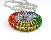 Chainmaille Jewellery, Chainmail Necklace, Sunburst, Rainbow or Silver and Red Brass