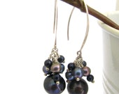 Gray Pearl Cluster and Silver Hanging Earrings.Big Statement Earrings. Holiday Gift for Her. Valentine day gifts