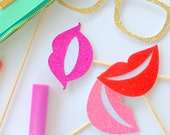 Photo Booth Props - Lips Smile - Pucker Up - Photobooth - Weddings - Party Favors - Party Lips