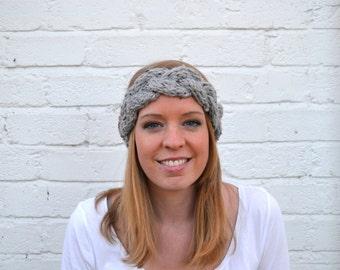 Gray Blue Ridge Bandeau - Handmade Gray Braided Knit Headband Ear Warmer
