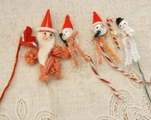 Vintage 50s Pipe cleaner Christmas Ornaments Retro Mid Century Instant collection