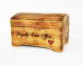 Large 'Happily Ever After' Card Box for Wedding Cards in Rustic Brown Finish