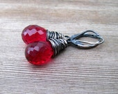 Red Quartz Earrings,  Wire Wrapped in Sterling Silver, Ruby Red Dangle Earrings