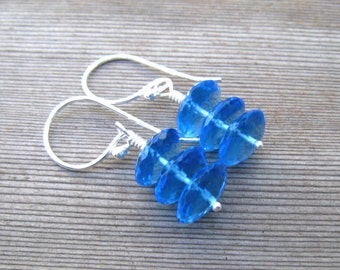 Swiss Blue Topaz Earrings, Sterling Silver, Blue Drop Earrings, December Birthstone, Blue Topaz Jewelry