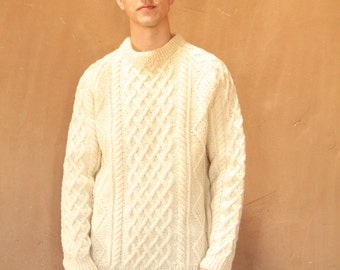 men's vintage CABLE KNIT thick heavy nordic sweater