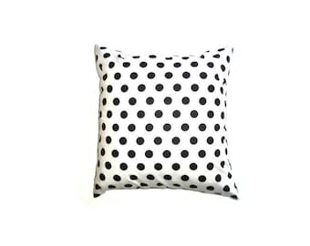 "Black and White Spot Cushion Cover 14"" 35cm Cotton Print Pillow Case Polka Dot Classic Retro Style Home Decor Circle Gift Ideas Machine Wash"