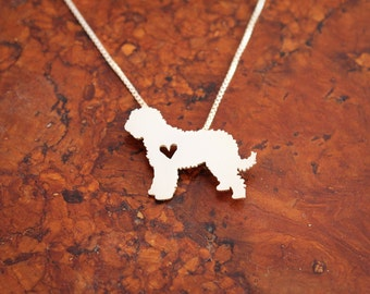 Goldendoodle necklace, sterling silver hand cut pendant, with heart, tiny dog breed jewelry