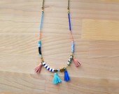 Long Beaded Necklace, Spotted Jasper, Peach and Blue Bead Leather Tassel Jewelry, Gemstone Geometric Tribal Necklace, Tassel Jewelry