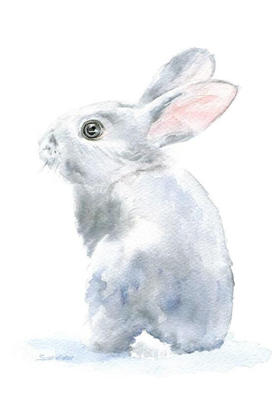 Gray Bunny Rabbit Watercolor 4 X 6 Gicl 233 E Reproduction
