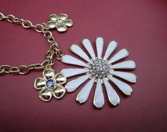 Cream Enamel Daisy Pendant Charms Rhinestones Fashion Gold Tone Metal Necklace Neckline Embellishment Accessory Floral Bridal OCJ