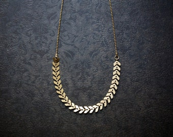 Raw Brass Chevron Chain Necklace with Delicate Faceted Ball Chain