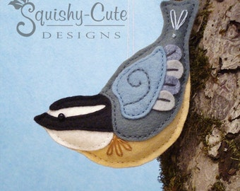 Nuthatch Sewing Pattern PDF - Backyard Bird Stuffed Ornament - Felt Plushie - Norman the Nuthatch - Instant Download