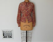 Vintage Rayon Blouse - 70s Abstract Top - The Annette