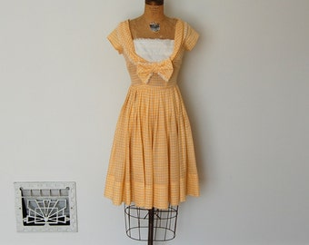 ON SALE - Vintage 50s Dress - 1950s Gingham Dress - The Molly