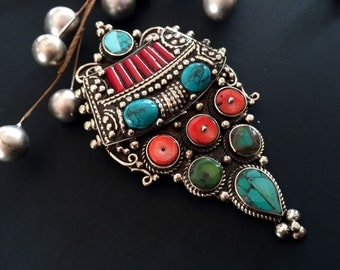Tibet Pendant Necklace Turquoise, Malachite & Coral, Nepal Jewelry,Vintage Silver Antique  by Taneesi