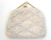 Vintage 50's White Beaded Purse Wedding Prom Formal Evening Easter