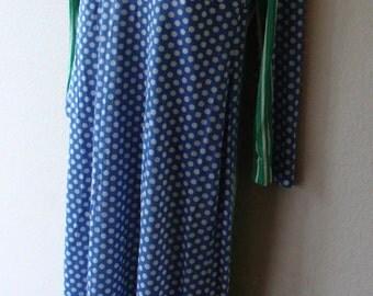 Vintage Polyester Homemade Hippie Chick 1960s dress womens size medium large polka dots empire waist