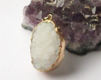 White Crystal Druzy Pendant - Druzy Geode Dipped In Gold - Natural Rough Surface Stone - Druzy Jewelry - Select  With/ Without Chain